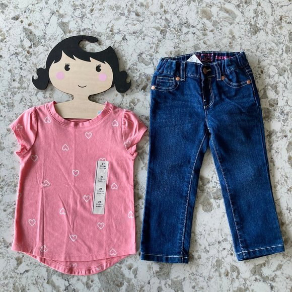 NWT heart tee and dark wash jeans 2T